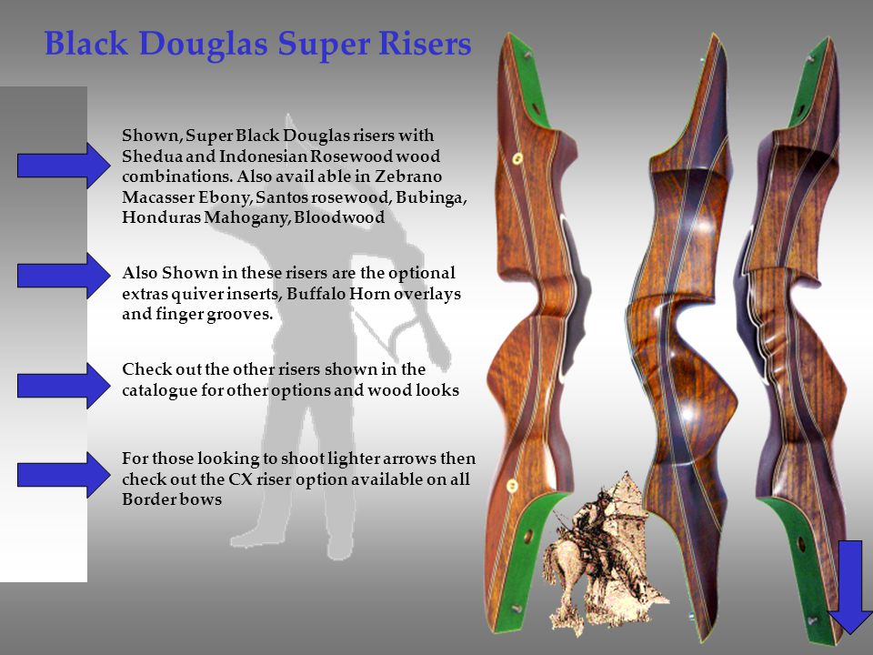 Black Douglas Super Risers Shown, Super Black Douglas risers with Shedua and Indonesian Rosewood wood combinations. Also avail able in Zebrano Macasse