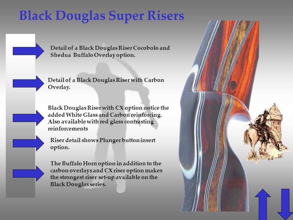 Black Douglas Super Risers Detail of a Black Douglas Riser Cocobolo and Shedua Buffalo Overlay option. Detail of a Black Douglas Riser with Carbon Ove