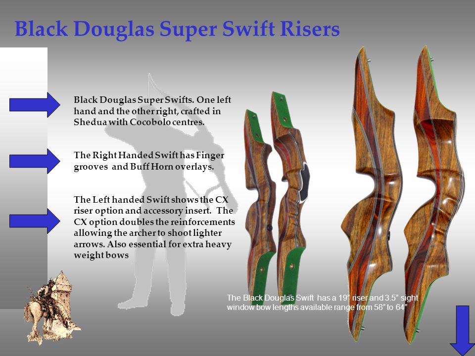 Black Douglas Super Swift Risers Black Douglas Super Swifts. One left hand and the other right, crafted in Shedua with Cocobolo centres. The Right Han