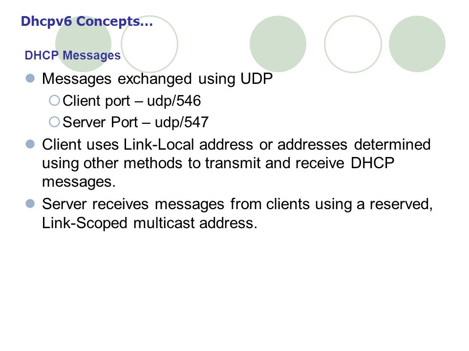 Messages exchanged using UDP Client port – udp/546 Server Port – udp/547 Client uses Link-Local address or addresses determined using other methods to transmit and receive DHCP messages.