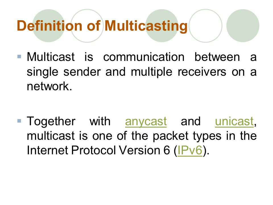 Definition of Multicasting Multicast is communication between a single sender and multiple receivers on a network.