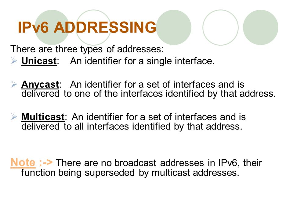 IPv6 ADDRESSING There are three types of addresses: Unicast: An identifier for a single interface.