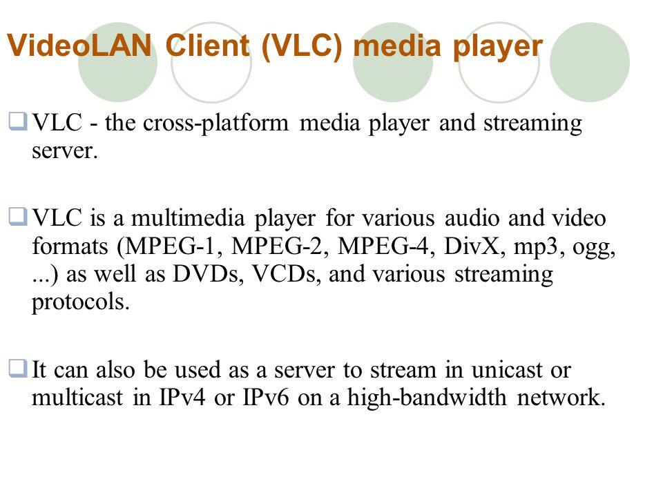 VideoLAN Client (VLC) media player VLC - the cross-platform media player and streaming server.