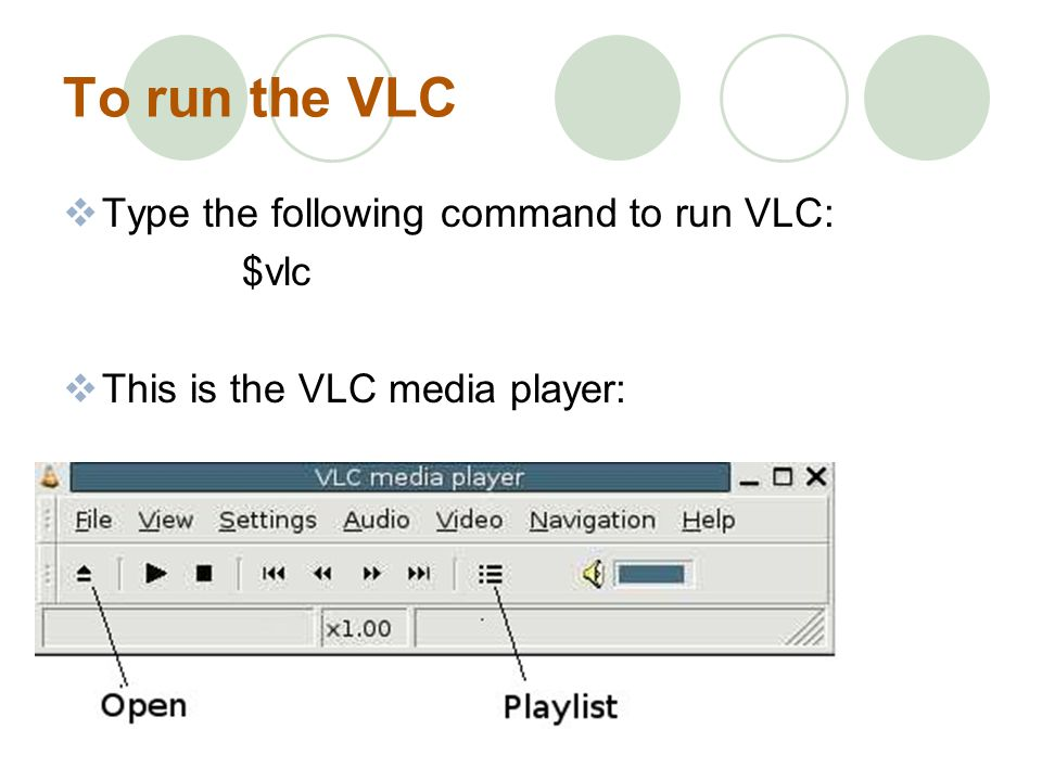 To run the VLC Type the following command to run VLC: $vlc This is the VLC media player:
