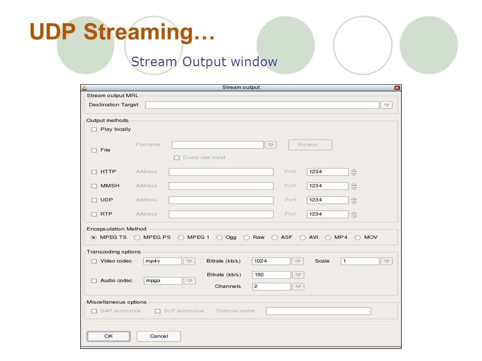 UDP Streaming… Stream Output window