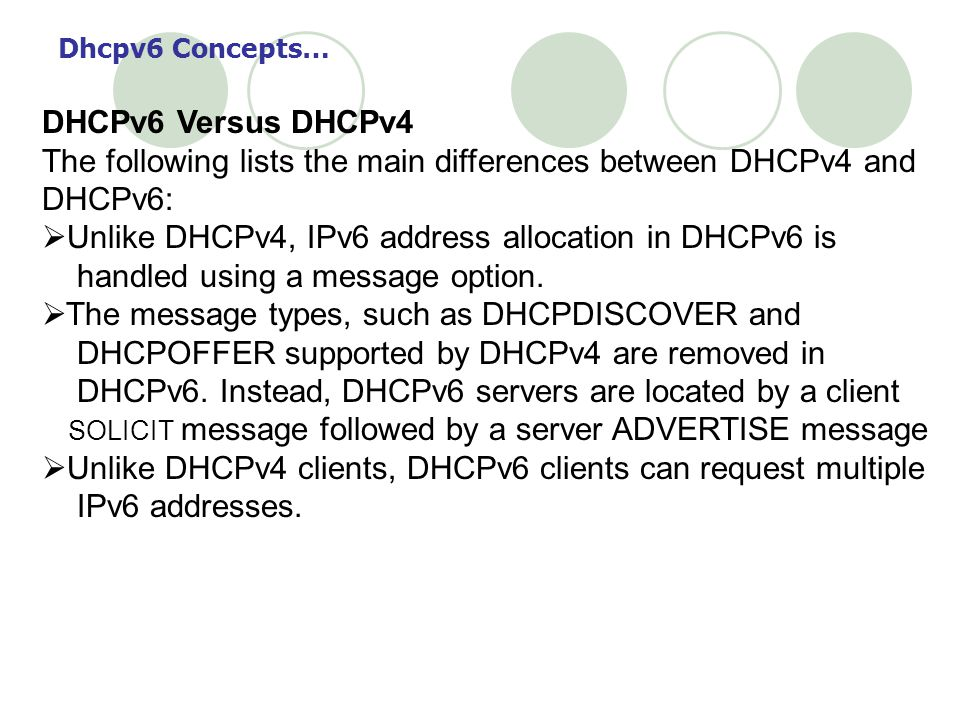 DHCPv6 Versus DHCPv4 The following lists the main differences between DHCPv4 and DHCPv6: Unlike DHCPv4, IPv6 address allocation in DHCPv6 is handled using a message option.