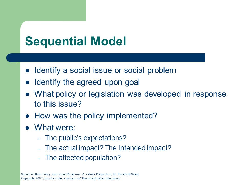 Social Welfare Policy and Social Programs: A Values Perspective, by Elizabeth Segal Copyright 2007, Brooks/Cole, a division of Thomson Higher Education Sequential Model Identify a social issue or social problem Identify the agreed upon goal What policy or legislation was developed in response to this issue.