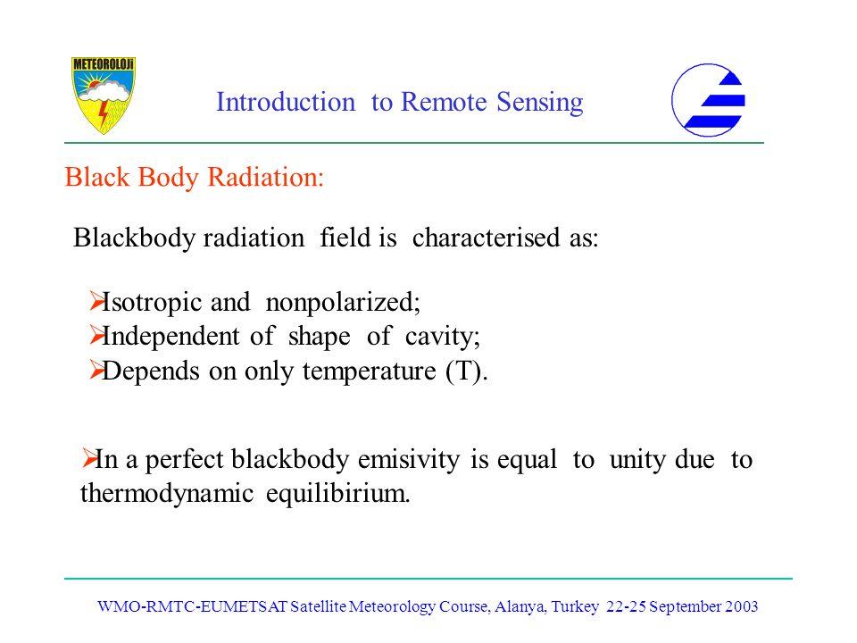 Introduction to Remote Sensing WMO-RMTC-EUMETSAT Satellite Meteorology Course, Alanya, Turkey 22-25 September 2003 Black Body Radiation: Blackbody rad