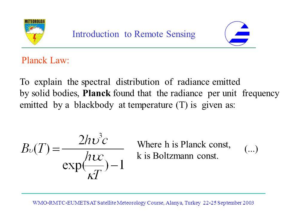 Introduction to Remote Sensing WMO-RMTC-EUMETSAT Satellite Meteorology Course, Alanya, Turkey 22-25 September 2003 Planck Law: To explain the spectral