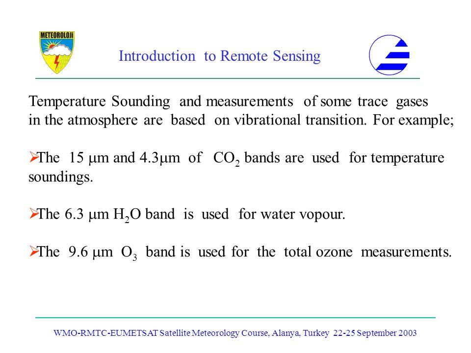 Introduction to Remote Sensing WMO-RMTC-EUMETSAT Satellite Meteorology Course, Alanya, Turkey 22-25 September 2003 Temperature Sounding and measuremen