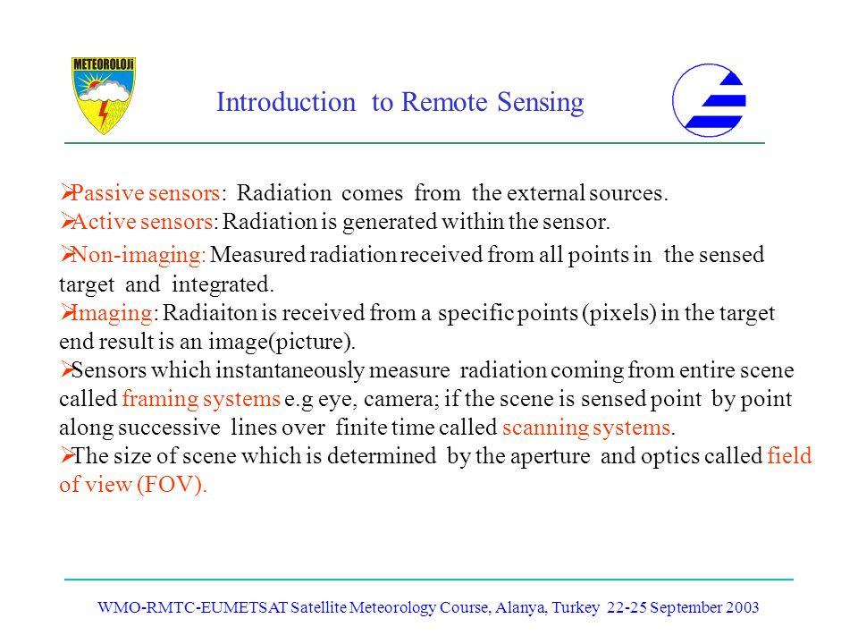 Introduction to Remote Sensing WMO-RMTC-EUMETSAT Satellite Meteorology Course, Alanya, Turkey 22-25 September 2003 Passive sensors: Radiation comes fr