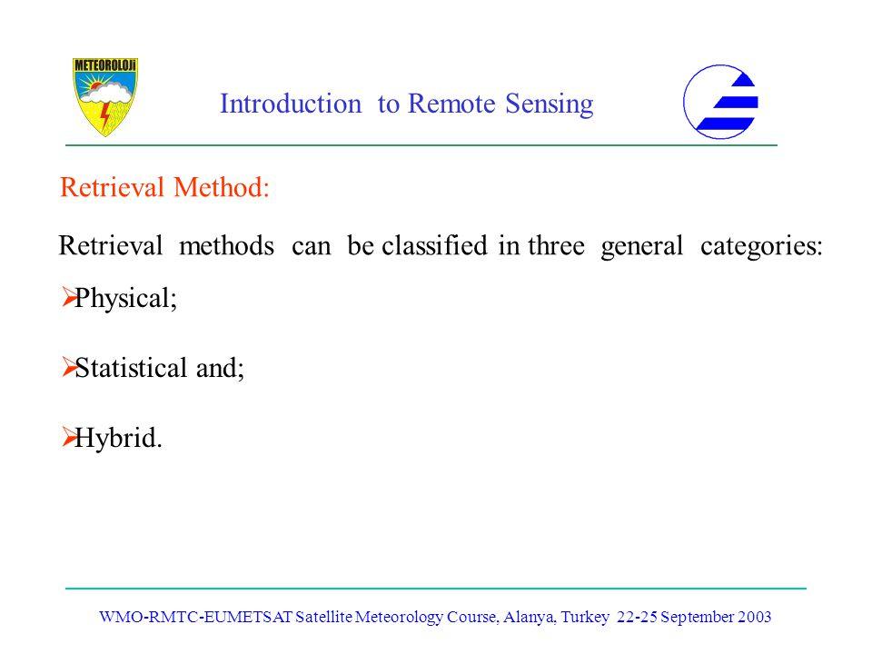 Introduction to Remote Sensing WMO-RMTC-EUMETSAT Satellite Meteorology Course, Alanya, Turkey 22-25 September 2003 Retrieval Method: Physical; Statist