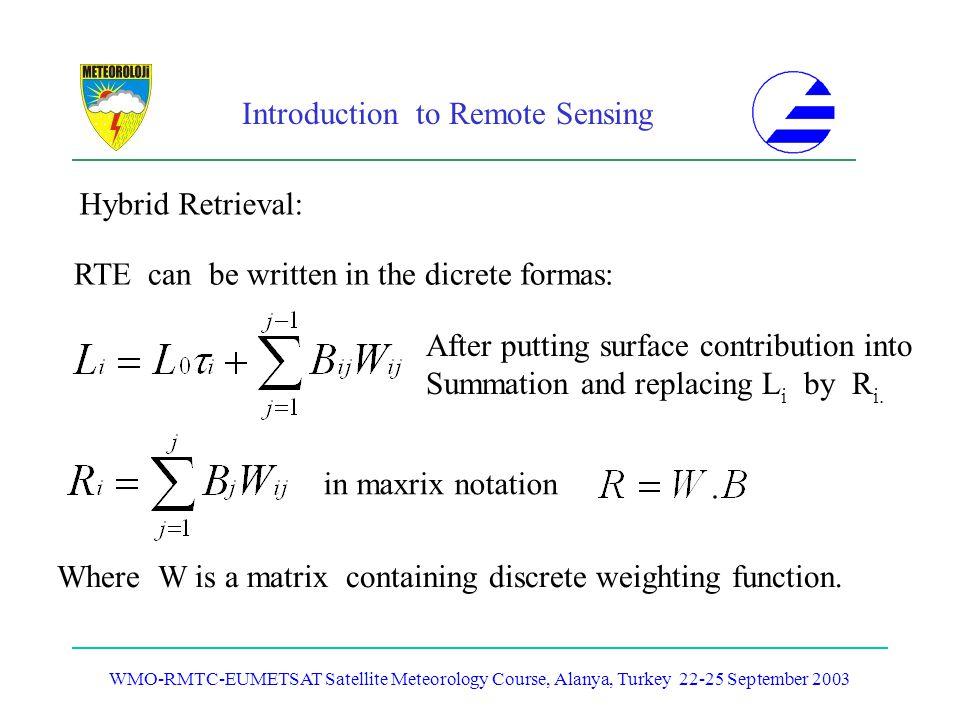Introduction to Remote Sensing WMO-RMTC-EUMETSAT Satellite Meteorology Course, Alanya, Turkey 22-25 September 2003 Hybrid Retrieval: RTE can be writte