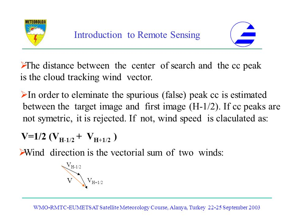 Introduction to Remote Sensing WMO-RMTC-EUMETSAT Satellite Meteorology Course, Alanya, Turkey 22-25 September 2003 The distance between the center of