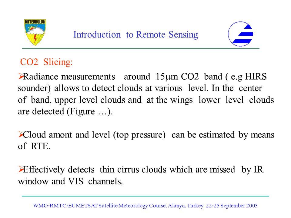 Introduction to Remote Sensing WMO-RMTC-EUMETSAT Satellite Meteorology Course, Alanya, Turkey 22-25 September 2003 CO2 Slicing: Radiance measurements