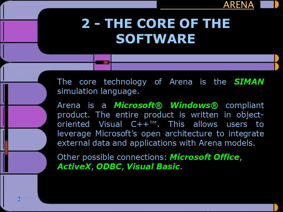2 ARENA 2 - THE CORE OF THE SOFTWARE The core technology of Arena is the SIMAN simulation language. Arena is a Microsoft® Windows® compliant product.