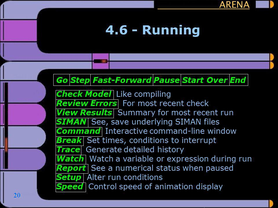 20 ARENA 4.6 - Running Go Step Fast-Forward Pause Start Over End Check Model Like compiling Review Errors For most recent check View Results Summary f