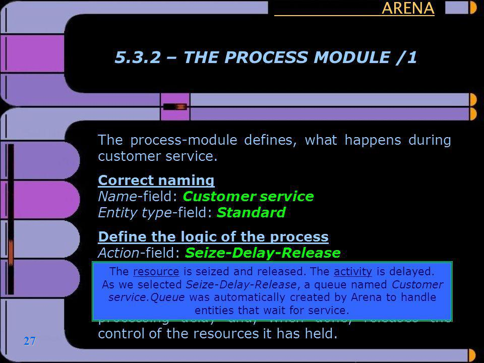 27 ARENA 5.3.2 – THE PROCESS MODULE /1 The process-module defines, what happens during customer service. Correct naming Name-field: Customer service E
