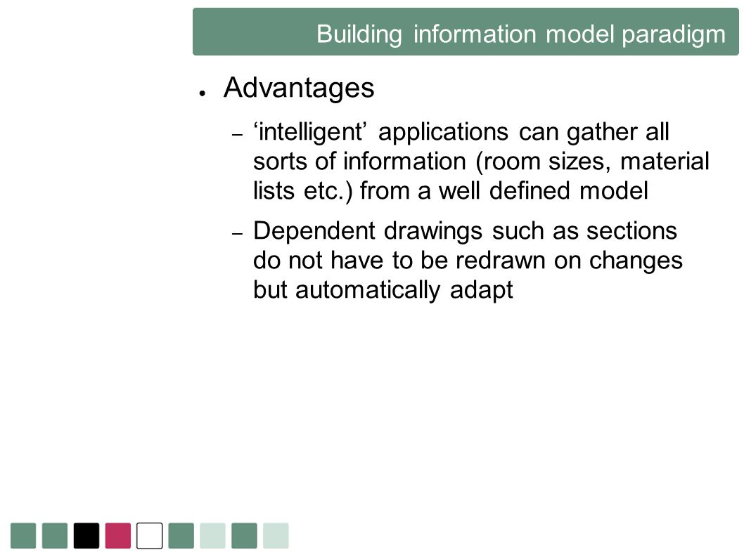 Building information model paradigm Advantages – intelligent applications can gather all sorts of information (room sizes, material lists etc.) from a