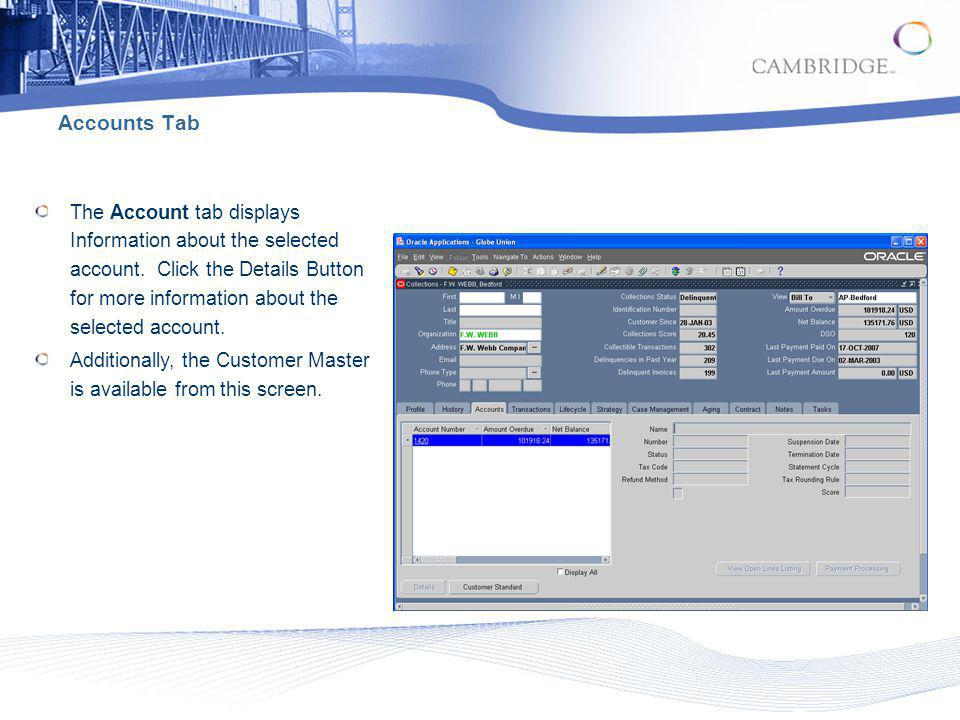 Accounts Tab The Account tab displays Information about the selected account. Click the Details Button for more information about the selected account