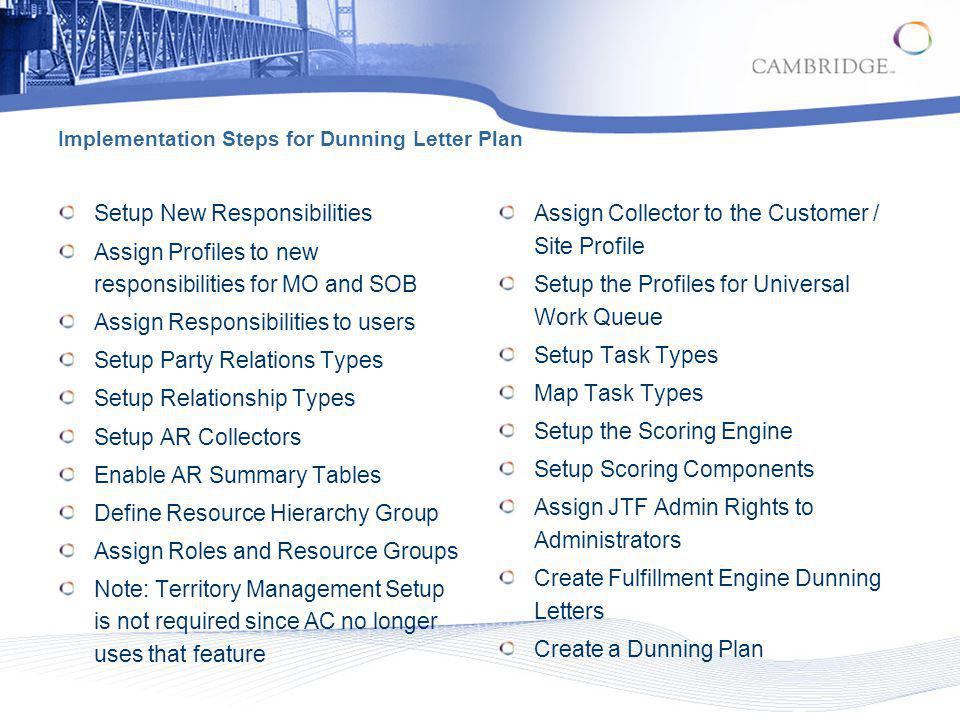 Implementation Steps for Dunning Letter Plan Setup New Responsibilities Assign Profiles to new responsibilities for MO and SOB Assign Responsibilities