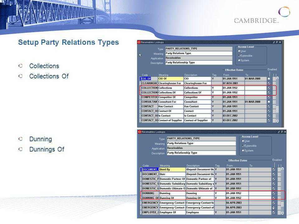 Setup Party Relations Types Collections Collections Of Dunning Dunnings Of