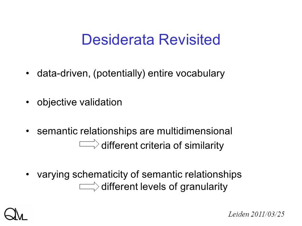 Desiderata Revisited Leiden 2011/03/25 data-driven, (potentially) entire vocabulary objective validation semantic relationships are multidimensional different criteria of similarity varying schematicity of semantic relationships different levels of granularity