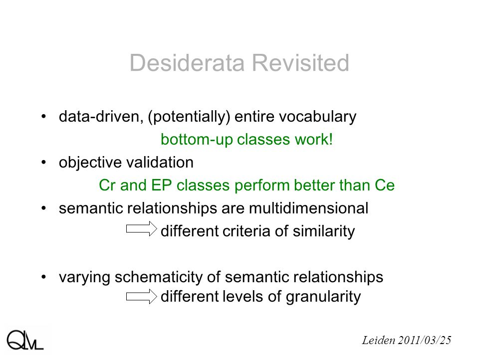Desiderata Revisited Leiden 2011/03/25 data-driven, (potentially) entire vocabulary bottom-up classes work.