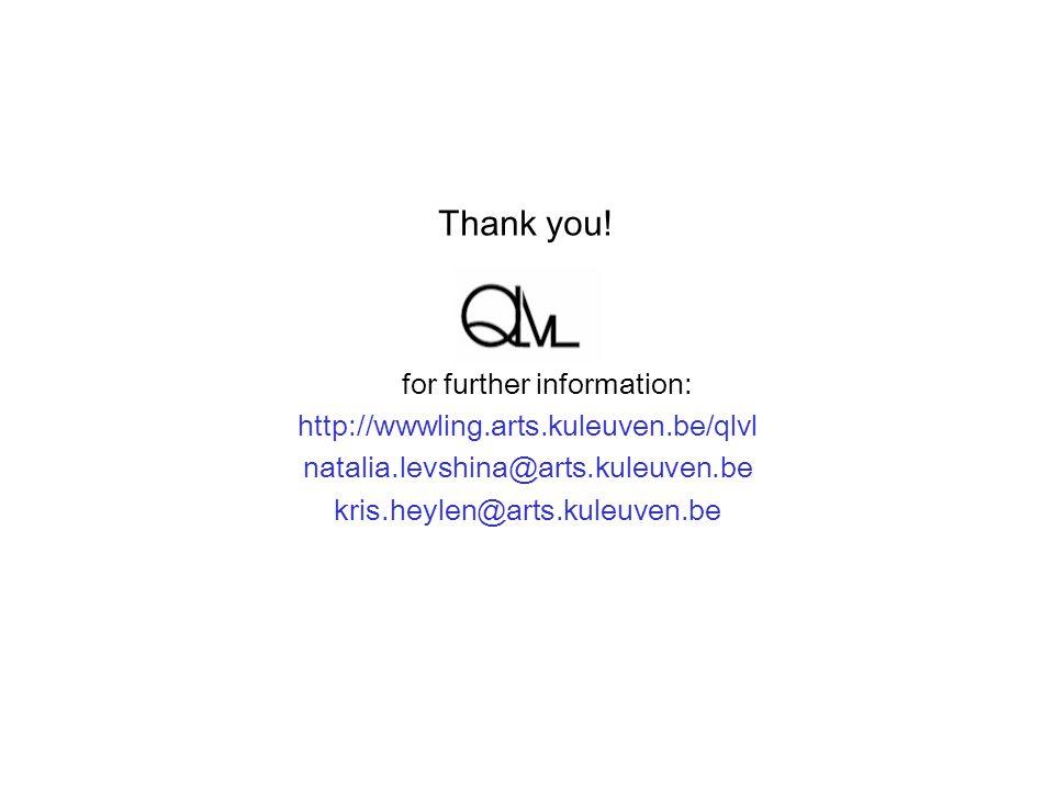 for further information: http://wwwling.arts.kuleuven.be/qlvl natalia.levshina@arts.kuleuven.be kris.heylen@arts.kuleuven.be Thank you!