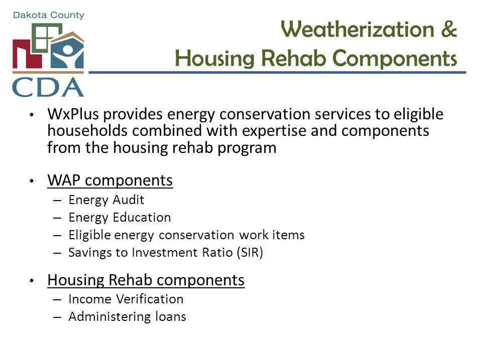 Weatherization & Housing Rehab Components WxPlus provides energy conservation services to eligible households combined with expertise and components f