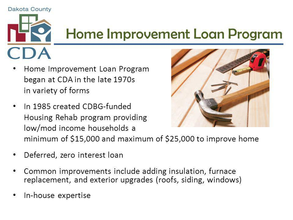Home Improvement Loan Program began at CDA in the late 1970s in variety of forms In 1985 created CDBG-funded Housing Rehab program providing low/mod i
