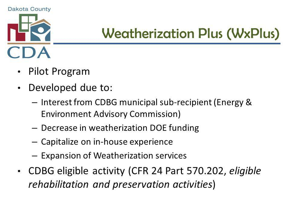 Weatherization Plus (WxPlus) Pilot Program Developed due to: – Interest from CDBG municipal sub-recipient (Energy & Environment Advisory Commission) – Decrease in weatherization DOE funding – Capitalize on in-house experience – Expansion of Weatherization services CDBG eligible activity (CFR 24 Part 570.202, eligible rehabilitation and preservation activities)