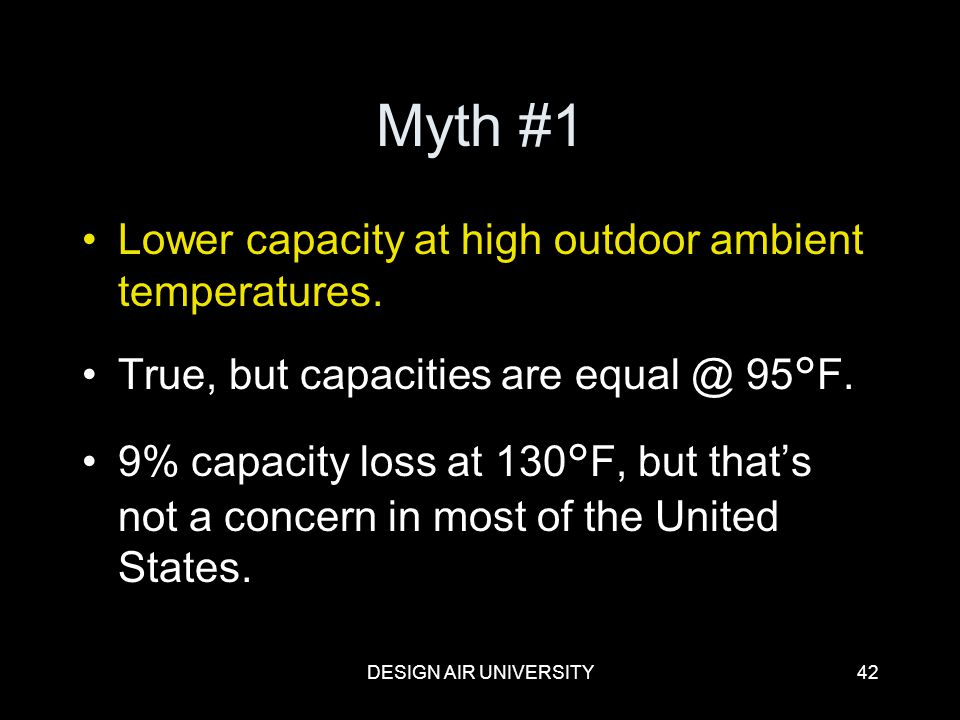 DESIGN AIR UNIVERSITY42 Myth #1 Lower capacity at high outdoor ambient temperatures. True, but capacities are equal @ 95°F. 9% capacity loss at 130°F,
