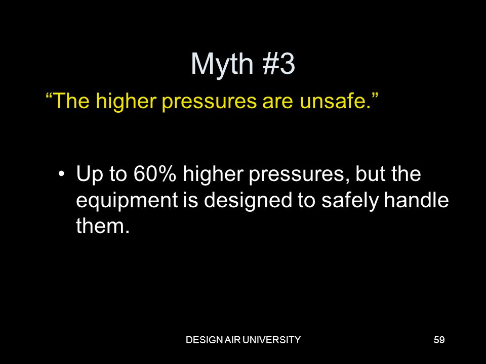 DESIGN AIR UNIVERSITY59 Myth #3 Up to 60% higher pressures, but the equipment is designed to safely handle them. The higher pressures are unsafe.