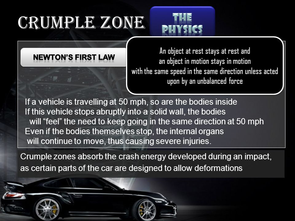 Crumple zone An object at rest stays at rest and an object in motion stays in motion with the same speed in the same direction unless acted upon by an unbalanced force An object at rest stays at rest and an object in motion stays in motion with the same speed in the same direction unless acted upon by an unbalanced force If a vehicle is travelling at 50 mph, so are the bodies inside If this vehicle stops abruptly into a solid wall, the bodies will feel the need to keep going in the same direction at 50 mph Even if the bodies themselves stop, the internal organs will continue to move, thus causing severe injuries.