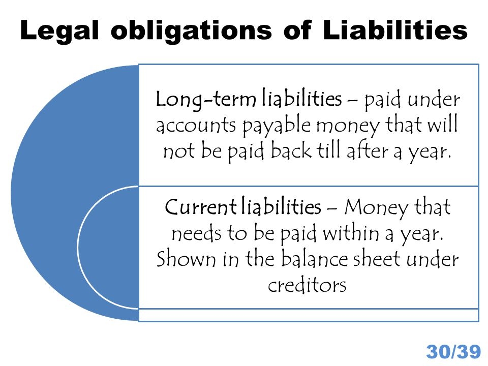 Legal obligations of Liabilities 30/39 Long-term liabilities – paid under accounts payable money that will not be paid back till after a year. Current
