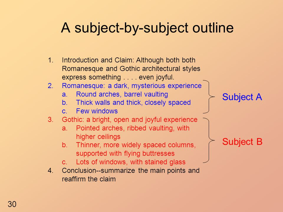 A subject-by-subject outline 1.Introduction and Claim: Although both both Romanesque and Gothic architectural styles express something.... even joyful