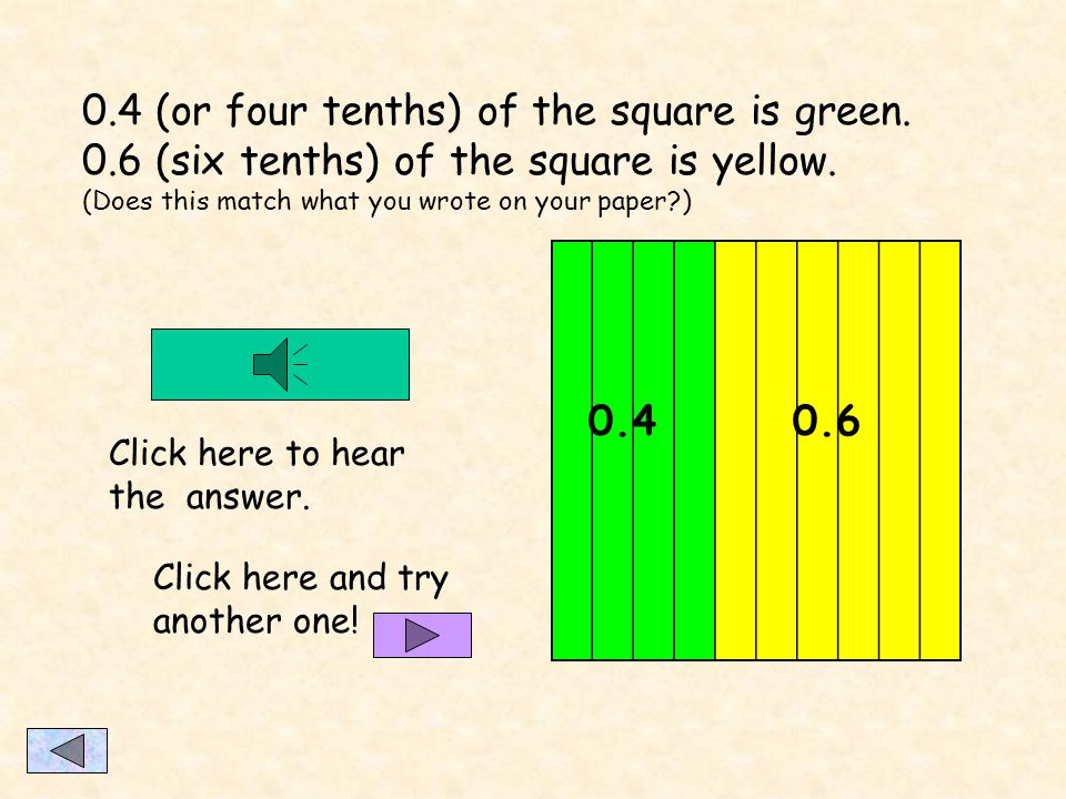 Now practice writing and saying some decimals. (Write your answers on paper. Then check your work by clicking below.) What portion of the square is gr