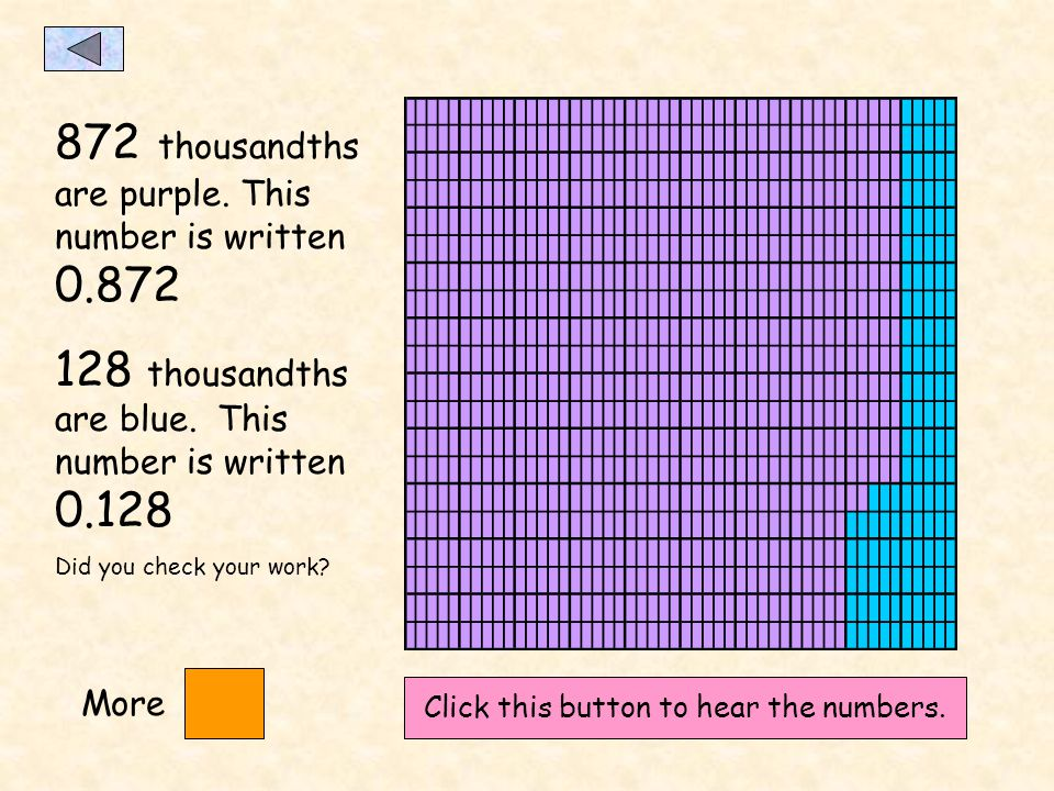 How many thousandths are purple? How many are blue? Check your answer here. Dont forget to write your answers down!