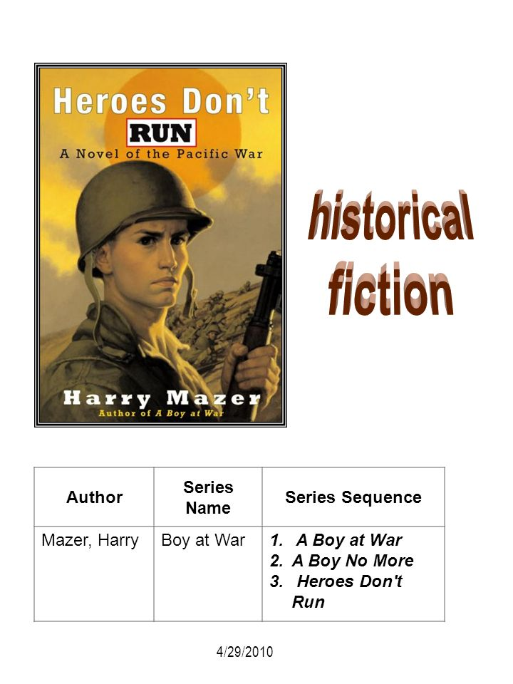 Author Series Name Series Sequence Mazer, HarryBoy at War1. A Boy at War 2.A Boy No More 3. Heroes Don't Run 4/29/2010