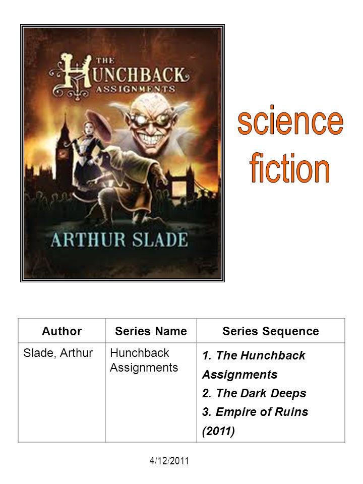 AuthorSeries NameSeries Sequence Slade, ArthurHunchback Assignments 1. The Hunchback Assignments 2. The Dark Deeps 3. Empire of Ruins (2011) 4/12/2011