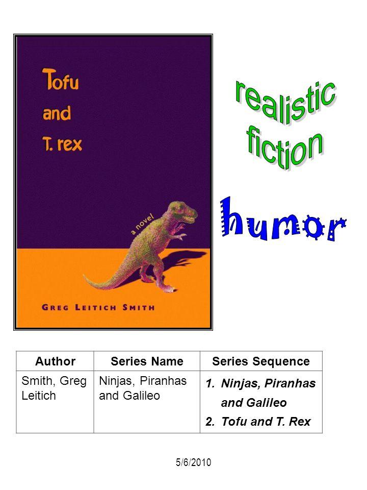 AuthorSeries NameSeries Sequence Smith, Greg Leitich Ninjas, Piranhas and Galileo 1.Ninjas, Piranhas and Galileo 2.Tofu and T. Rex 5/6/2010