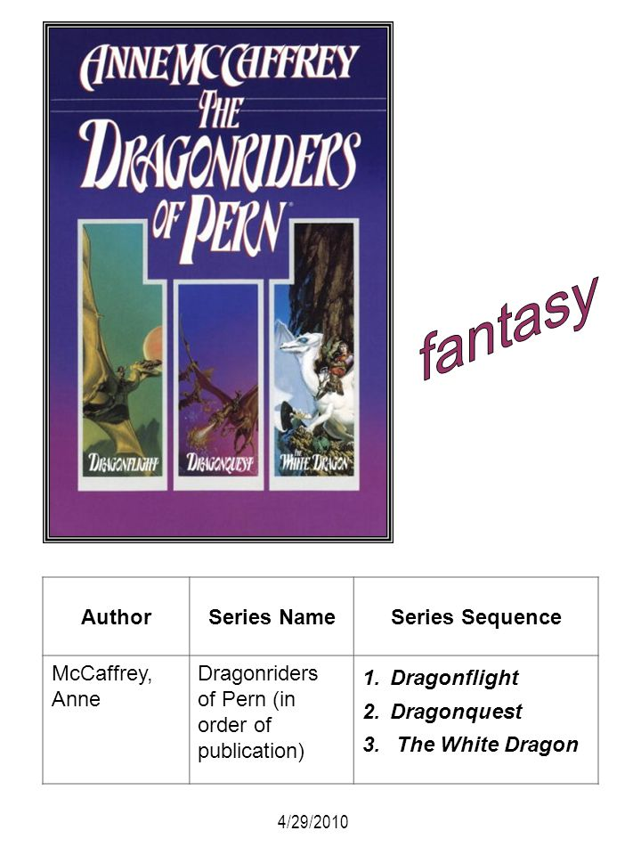 AuthorSeries NameSeries Sequence McCaffrey, Anne Dragonriders of Pern (in order of publication) 1.Dragonflight 2.Dragonquest 3. The White Dragon 4/29/