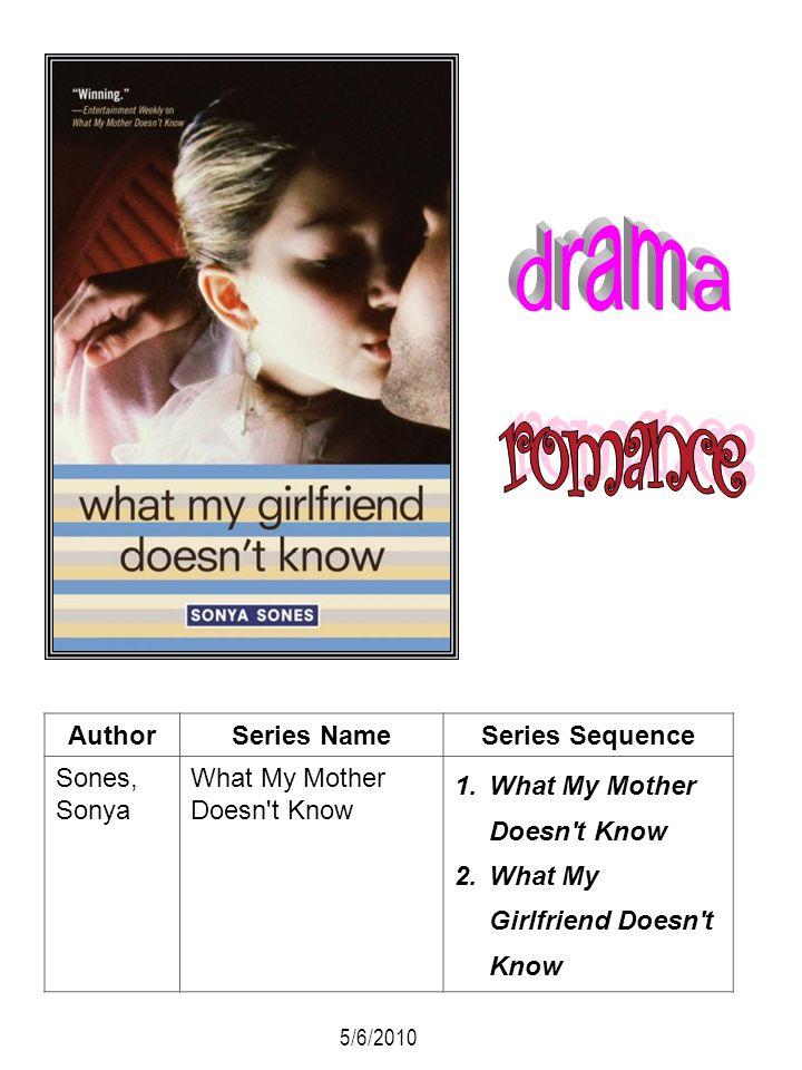 AuthorSeries NameSeries Sequence Sones, Sonya What My Mother Doesn't Know 1.What My Mother Doesn't Know 2.What My Girlfriend Doesn't Know 5/6/2010