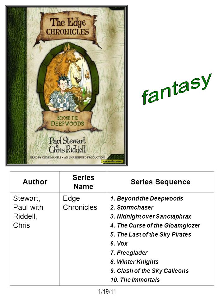 Author Series Name Series Sequence Stewart, Paul with Riddell, Chris Edge Chronicles 1. Beyond the Deepwoods 2. Stormchaser 3. Nidnight over Sanctaphr