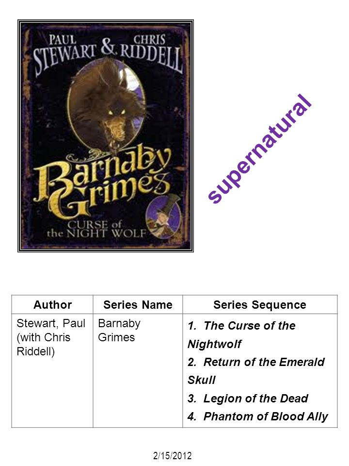 AuthorSeries NameSeries Sequence Stewart, Paul (with Chris Riddell) Barnaby Grimes 1. The Curse of the Nightwolf 2. Return of the Emerald Skull 3. Leg