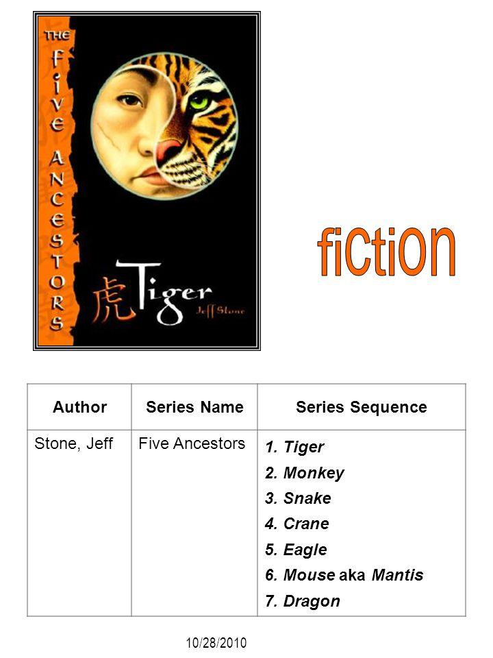 AuthorSeries NameSeries Sequence Stone, JeffFive Ancestors 1. Tiger 2. Monkey 3. Snake 4. Crane 5. Eagle 6. Mouse aka Mantis 7. Dragon 10/28/2010