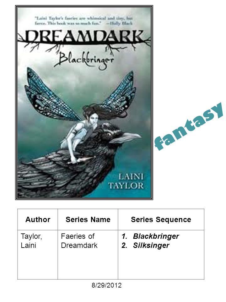 AuthorSeries NameSeries Sequence Taylor, Laini Faeries of Dreamdark 1.Blackbringer 2.Silksinger 8/29/2012 fantasy