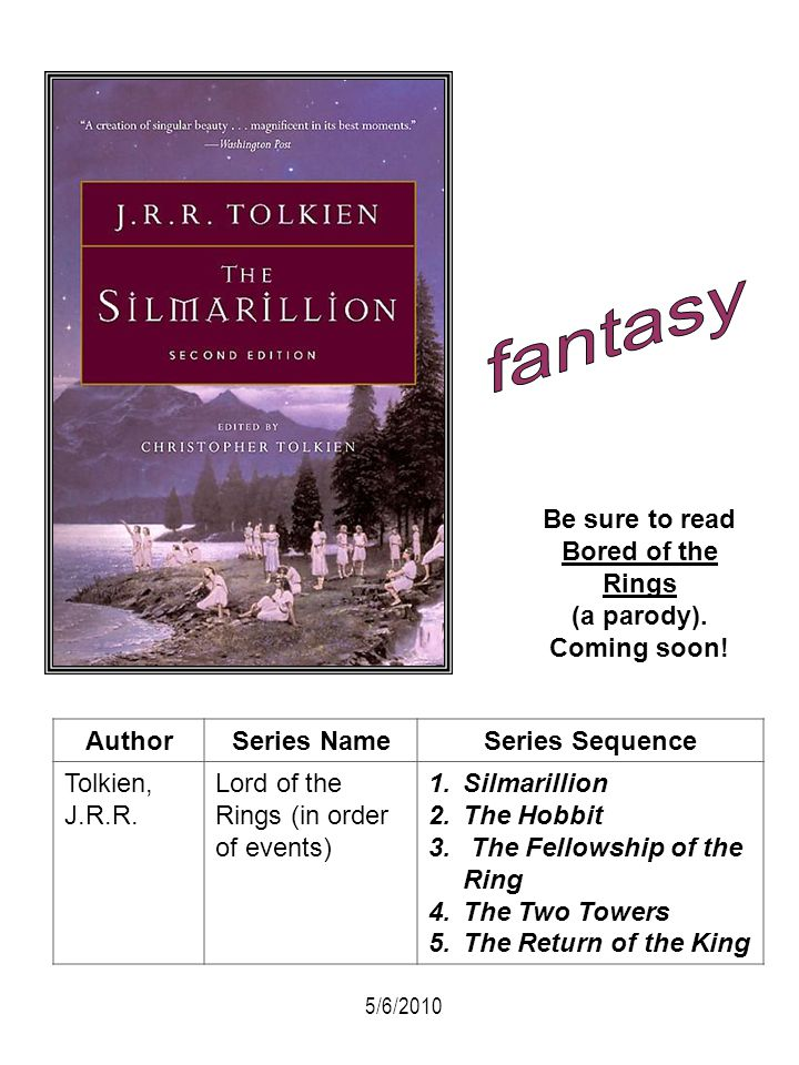 AuthorSeries NameSeries Sequence Tolkien, J.R.R. Lord of the Rings (in order of events) 1.Silmarillion 2.The Hobbit 3. The Fellowship of the Ring 4.Th