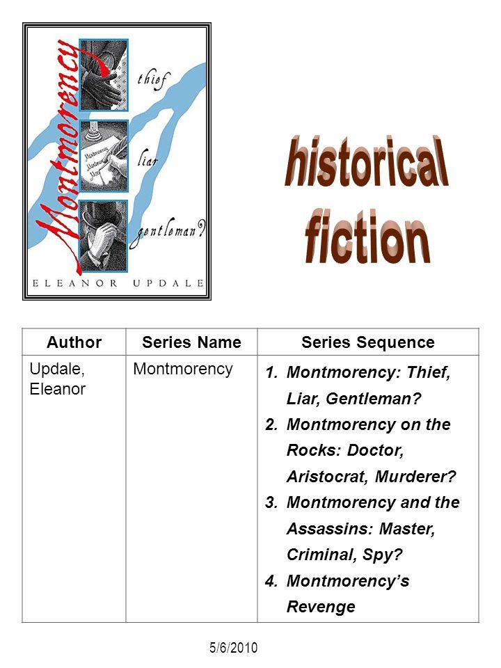 AuthorSeries NameSeries Sequence Updale, Eleanor Montmorency 1.Montmorency: Thief, Liar, Gentleman? 2.Montmorency on the Rocks: Doctor, Aristocrat, Mu